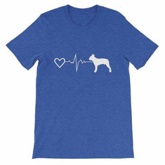 Boston Terrier Heartbeat - Short-Sleeve Unisex T-Shirt Heather True Royal / S