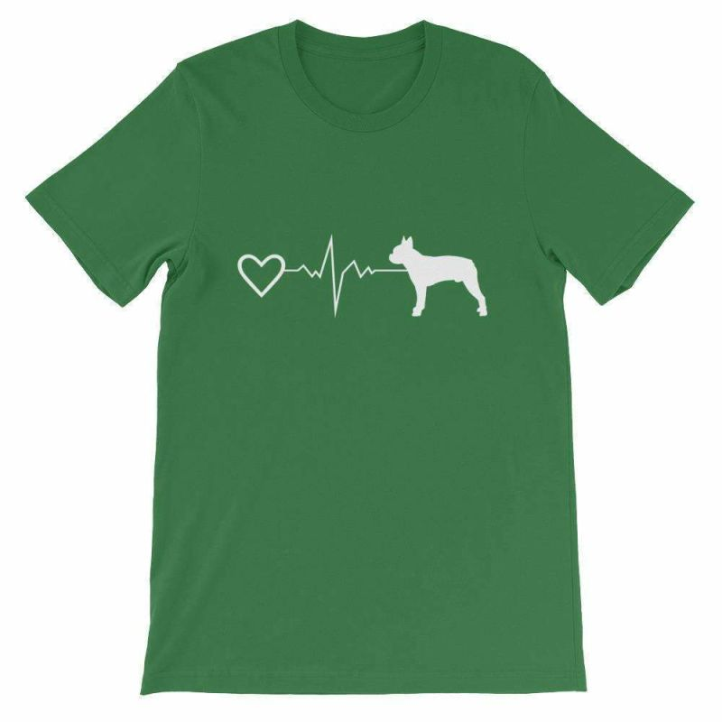 Boston Terrier Heartbeat - Short-Sleeve Unisex T-Shirt Leaf / S