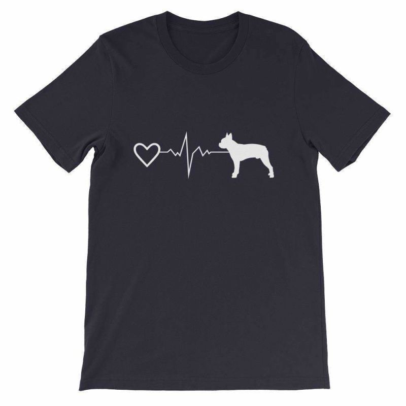 Boston Terrier Heartbeat - Short-Sleeve Unisex T-Shirt Navy / S