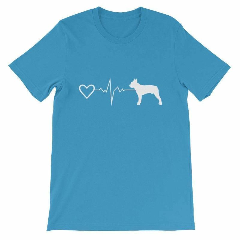 Boston Terrier Heartbeat - Short-Sleeve Unisex T-Shirt Ocean Blue / S