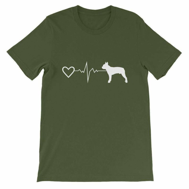 Boston Terrier Heartbeat - Short-Sleeve Unisex T-Shirt Olive / S