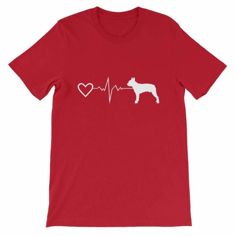 Boston Terrier Heartbeat - Short-Sleeve Unisex T-Shirt Red / S