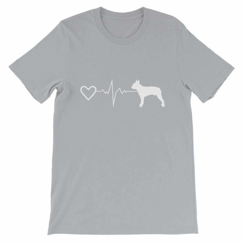 Boston Terrier Heartbeat - Short-Sleeve Unisex T-Shirt Silver / S