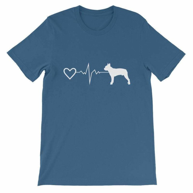 Boston Terrier Heartbeat - Short-Sleeve Unisex T-Shirt Steel Blue / S