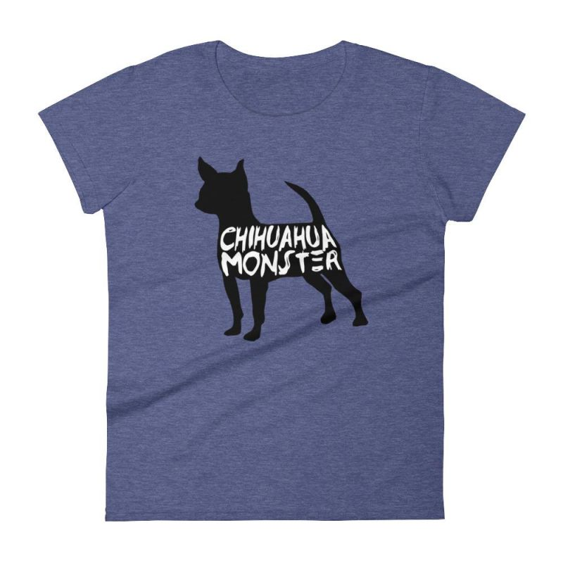 Chihuahua Monster - Women's Short Sleeve T-Shirt Heather Blue / S
