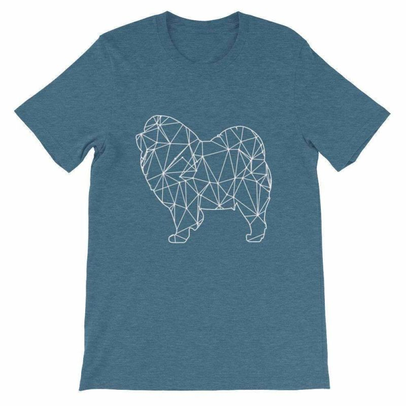 Chow Geometric Design - Unisex Short Sleeve T-Shirt Heather Deep Teal / S