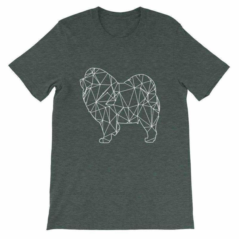 Chow Geometric Design - Unisex Short Sleeve T-Shirt Heather Forest / S