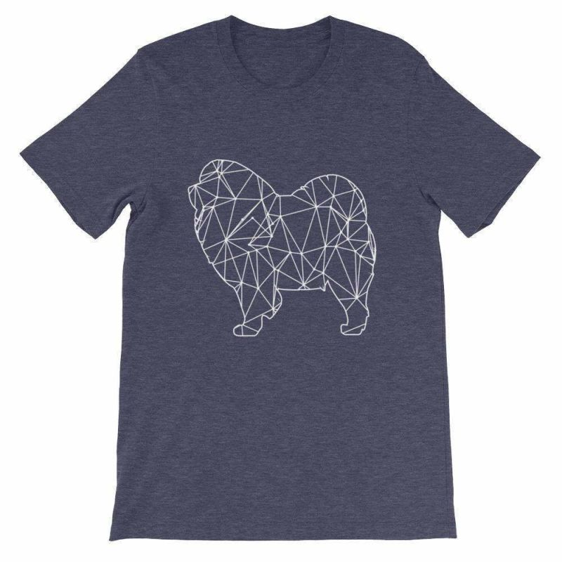 Chow Geometric Design - Unisex Short Sleeve T-Shirt Heather Midnight Navy / S