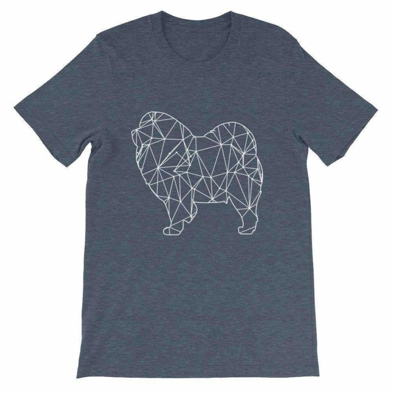 Chow Geometric Design - Unisex Short Sleeve T-Shirt Heather Navy / S