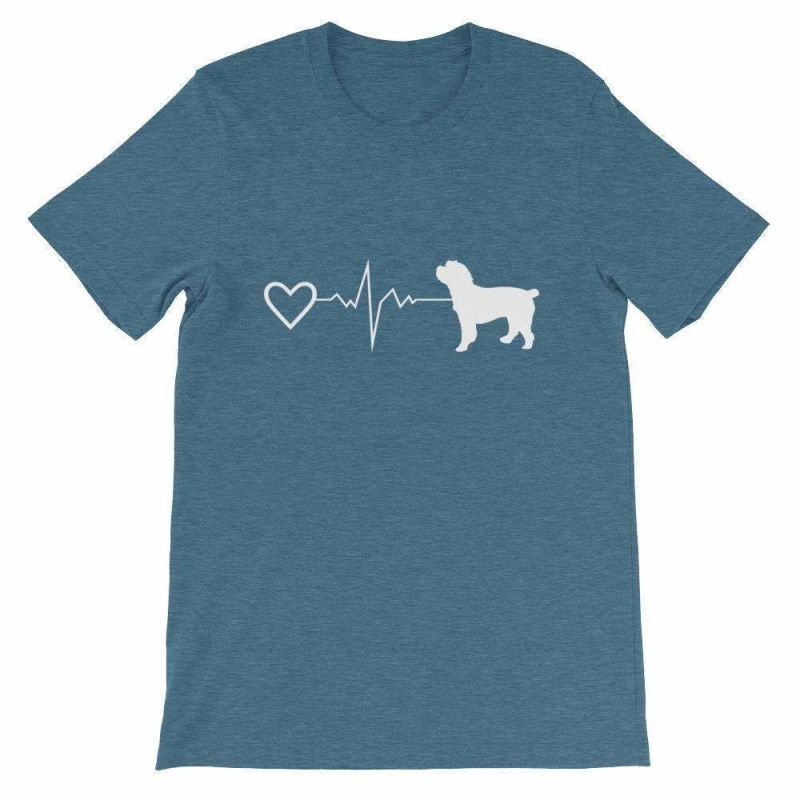 Cockapoo Heartbeat - Short-Sleeve Unisex T-Shirt Heather Deep Teal / S
