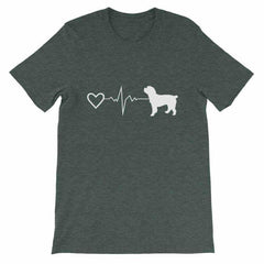 Cockapoo Heartbeat - Short-Sleeve Unisex T-Shirt Heather Forest / S