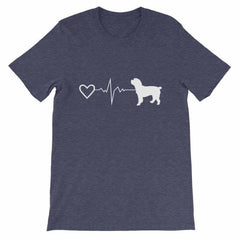Cockapoo Heartbeat - Short-Sleeve Unisex T-Shirt Heather Midnight Navy / S