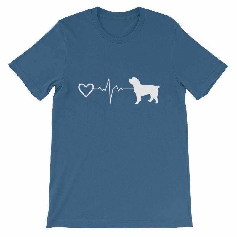 Cockapoo Heartbeat - Short-Sleeve Unisex T-Shirt Steel Blue / S