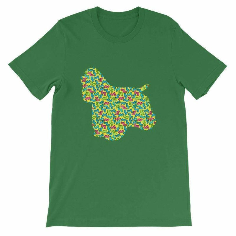 Cocker Spaniel - 80's Design Unisex Short Sleeve T-Shirt Leaf / S