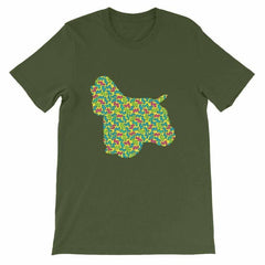 Cocker Spaniel - 80's Design Unisex Short Sleeve T-Shirt Olive / S