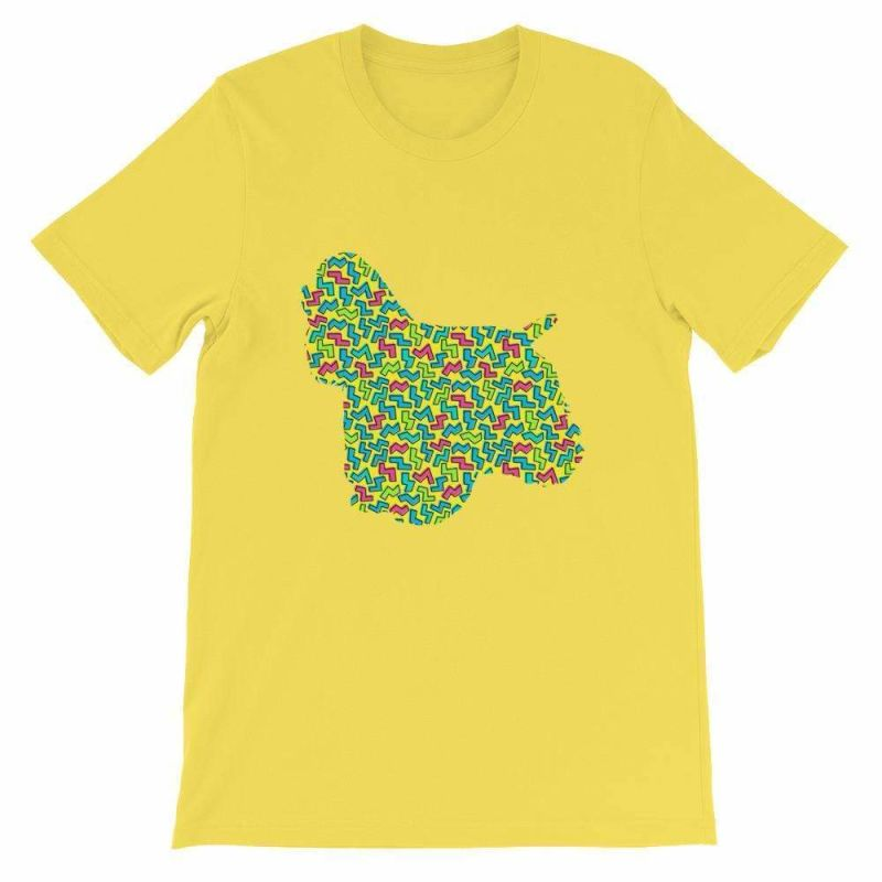 Cocker Spaniel - 80's Design Unisex Short Sleeve T-Shirt Yellow / S