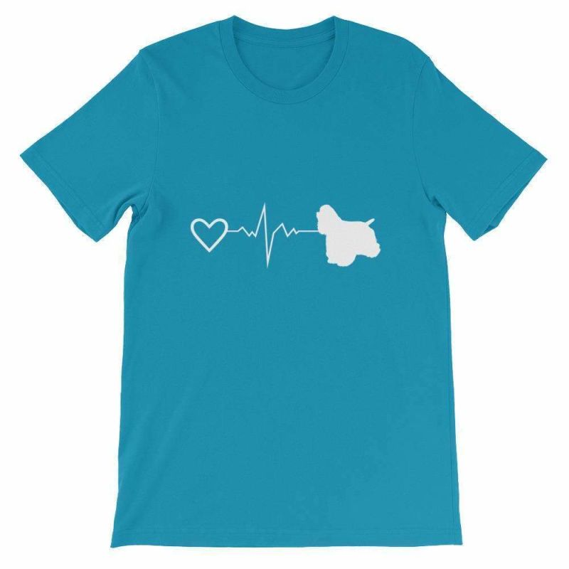 Cocker Spaniel Heartbeat - Short-Sleeve Unisex T-Shirt Aqua / S