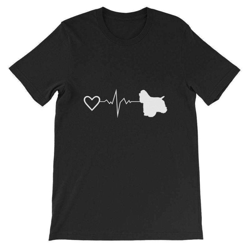 Cocker Spaniel Heartbeat - Short-Sleeve Unisex T-Shirt Black / S