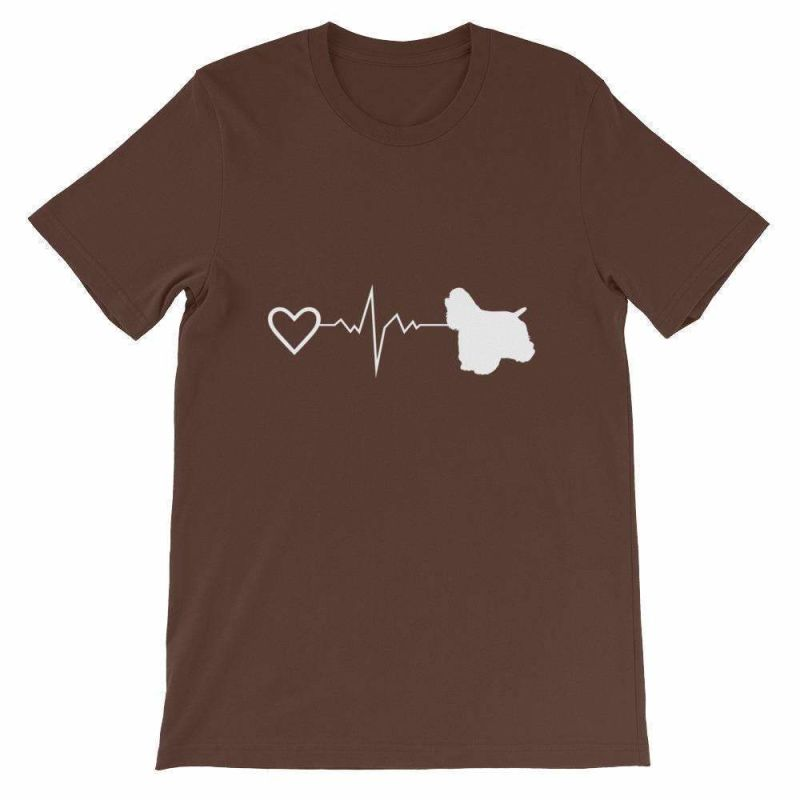Cocker Spaniel Heartbeat - Short-Sleeve Unisex T-Shirt Brown / S