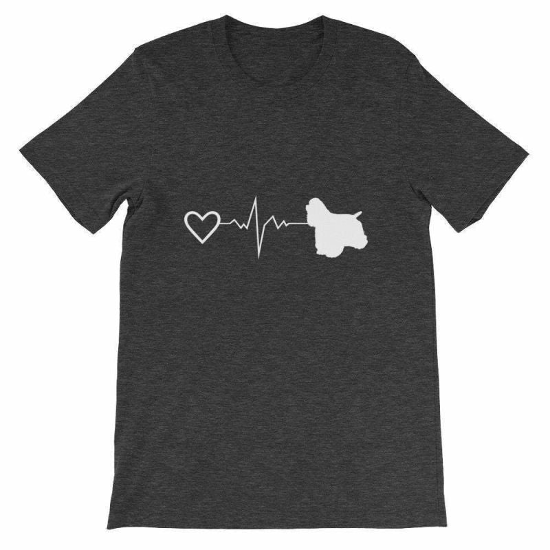 Cocker Spaniel Heartbeat - Short-Sleeve Unisex T-Shirt Dark Grey Heather / S
