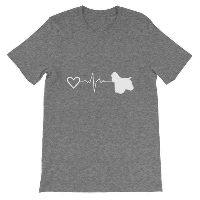 Cocker Spaniel Heartbeat - Short-Sleeve Unisex T-Shirt Deep Heather / S