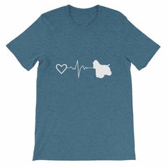 Cocker Spaniel Heartbeat - Short-Sleeve Unisex T-Shirt Heather Deep Teal / S