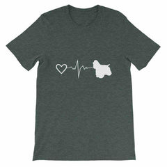 Cocker Spaniel Heartbeat - Short-Sleeve Unisex T-Shirt Heather Forest / S