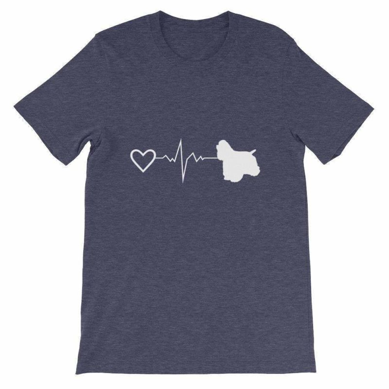 Cocker Spaniel Heartbeat - Short-Sleeve Unisex T-Shirt Heather Midnight Navy / S
