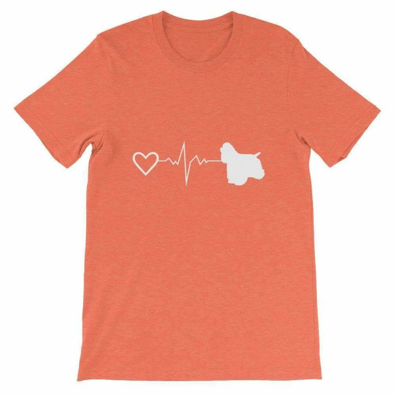 Cocker Spaniel Heartbeat - Short-Sleeve Unisex T-Shirt Heather Orange / S