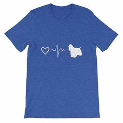 Cocker Spaniel Heartbeat - Short-Sleeve Unisex T-Shirt Heather True Royal / S