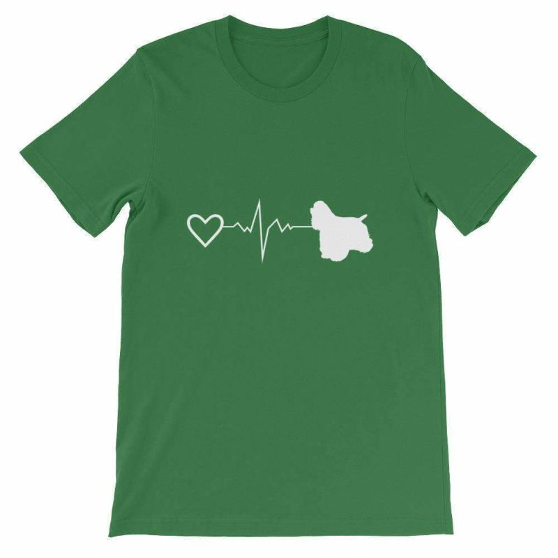 Cocker Spaniel Heartbeat - Short-Sleeve Unisex T-Shirt Leaf / S