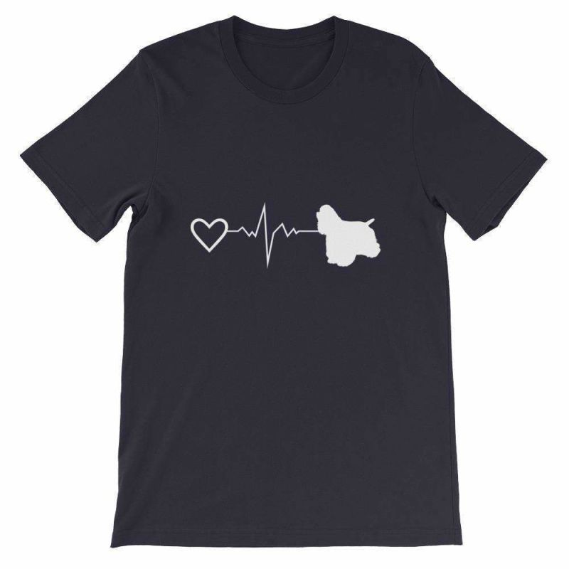 Cocker Spaniel Heartbeat - Short-Sleeve Unisex T-Shirt Navy / S