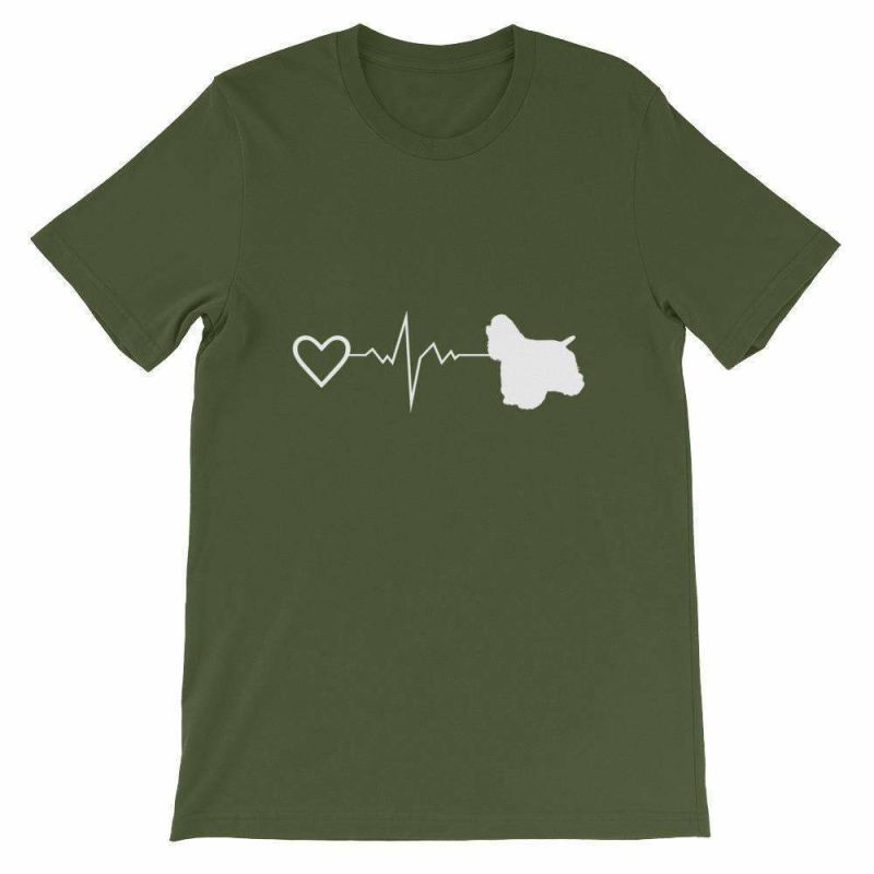 Cocker Spaniel Heartbeat - Short-Sleeve Unisex T-Shirt Olive / S