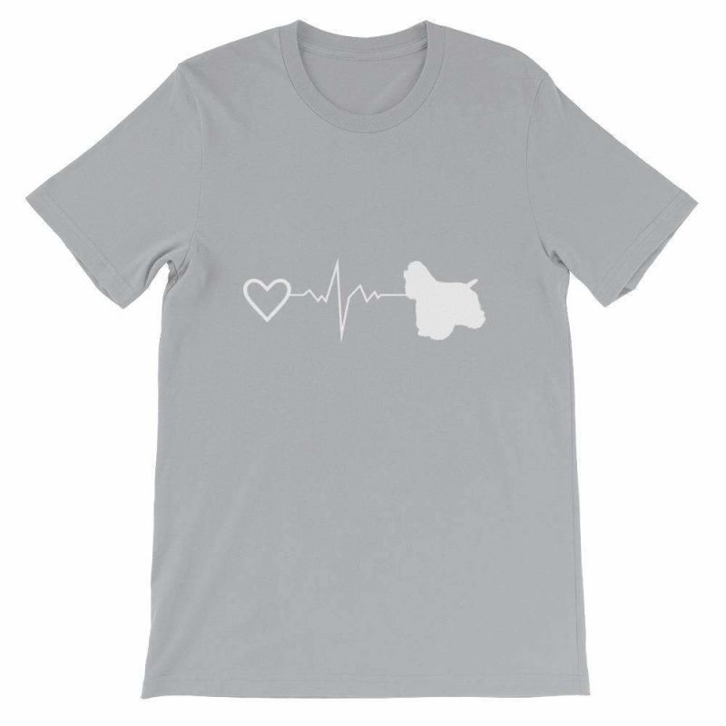 Cocker Spaniel Heartbeat - Short-Sleeve Unisex T-Shirt Silver / S