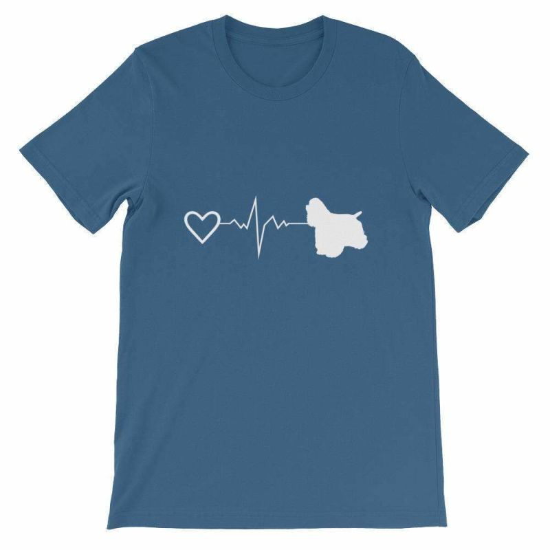 Cocker Spaniel Heartbeat - Short-Sleeve Unisex T-Shirt Steel Blue / S