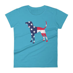 Coonhound Patriotic Design - Women's Short Sleeve T-Shirt Caribbean Blue / S