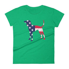 Coonhound Patriotic Design - Women's Short Sleeve T-Shirt Heather Green / S