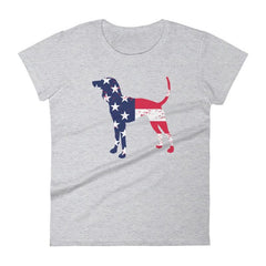 Coonhound Patriotic Design - Women's Short Sleeve T-Shirt Heather Grey / S