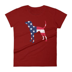 Coonhound Patriotic Design - Women's Short Sleeve T-Shirt Independence Red / S