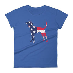 Coonhound Patriotic Design - Women's Short Sleeve T-Shirt Royal Blue / S