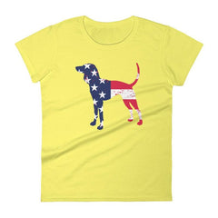 Coonhound Patriotic Design - Women's Short Sleeve T-Shirt Spring Yellow / S