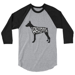 Doberman Monster - Baseball Shirt Heather Grey/black / S