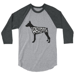 Doberman Monster - Baseball Shirt Heather Grey/heather Charcoal / S