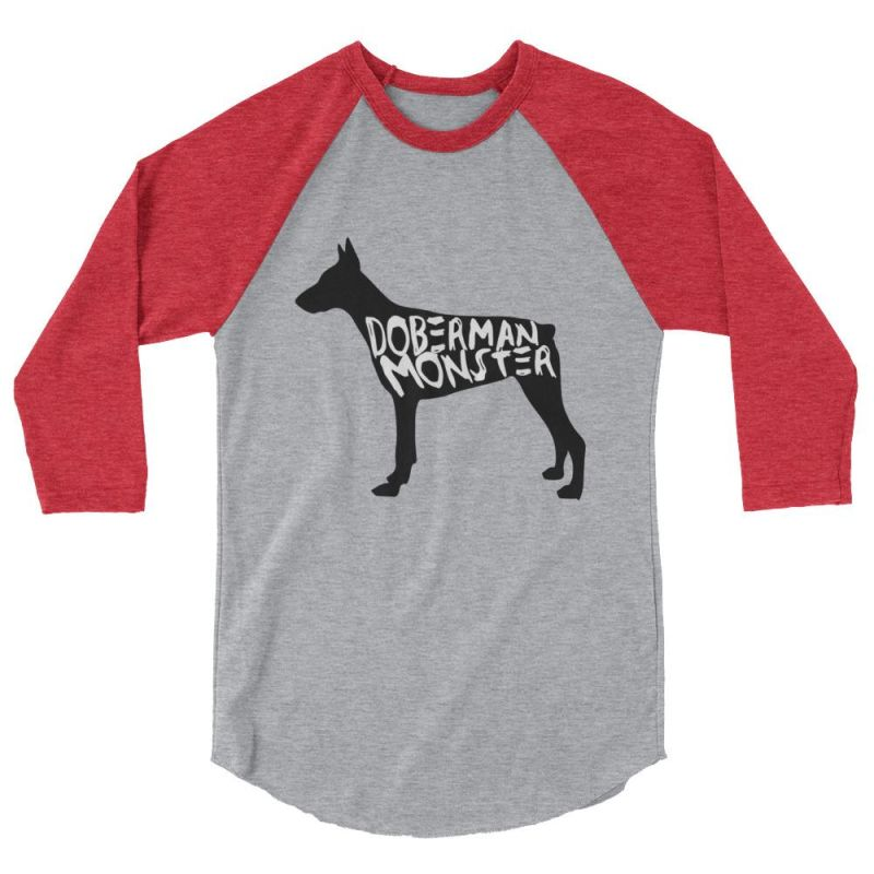 Doberman Monster - Baseball Shirt Heather Grey/heather Red / Xs