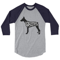 Doberman Monster - Baseball Shirt Heather Grey/navy / Xs