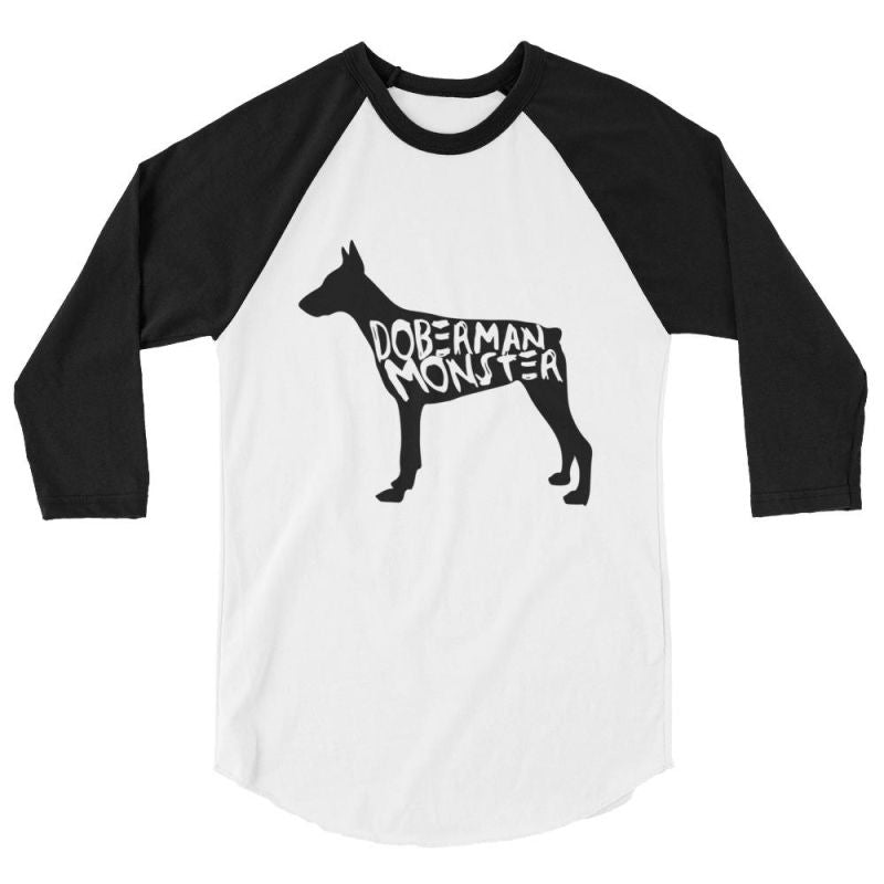 Doberman Monster - Baseball Shirt White/black / Xs
