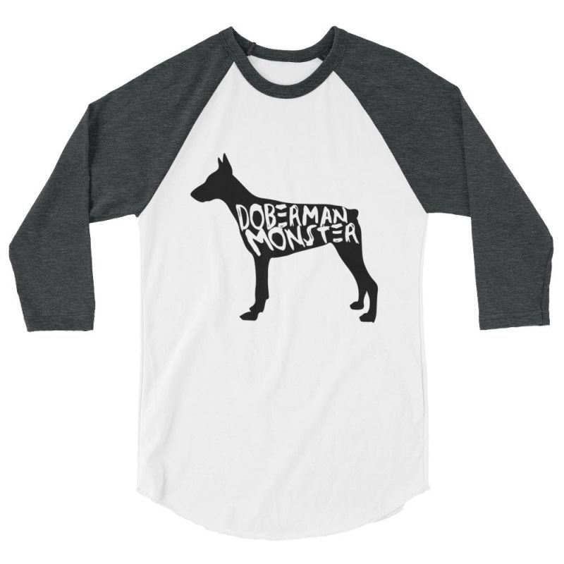 Doberman Monster - Baseball Shirt White/heather Charcoal / Xs