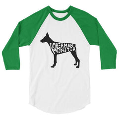 Doberman Monster - Baseball Shirt White/kelly / Xs