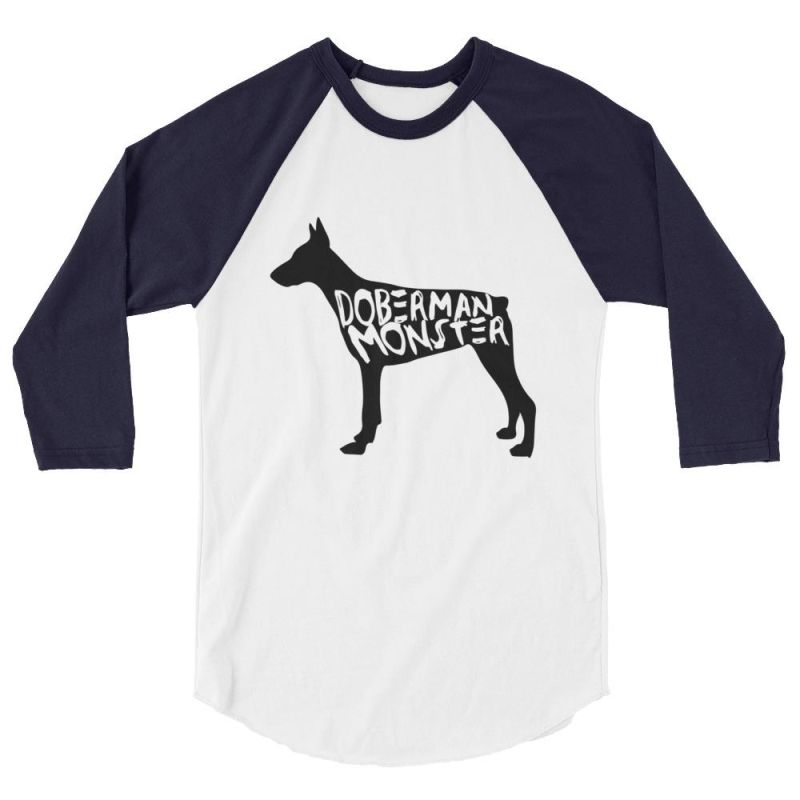 Doberman Monster - Baseball Shirt White/navy / Xs