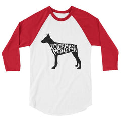Doberman Monster - Baseball Shirt White/red / Xs